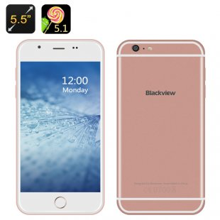 Blackview Android 5.1 Smartphone - 4G, 5.5 Inch 720p Display, Quad Core CPU, 2GB RAM, Gesture Sensing (RoseGold)
