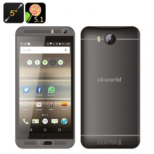 VKworld VK800X Android Smartphone - Android 5.1, Quad Core CPU, 5 Inch Display, Smart Wake, Dual SIM, 2000mAh Battery (Grey)