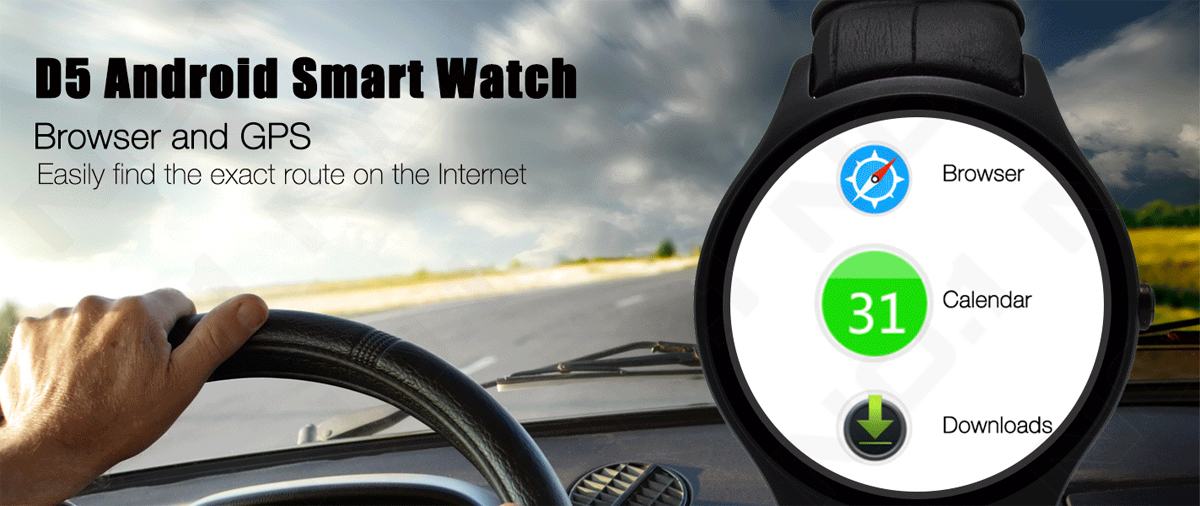 NO.1 D5 Android Smart Watch - Wi-Fi, 3G SIM, BT4.0, Google Play, GPS, Heart Rate, Pedometer, Barometer (Black)